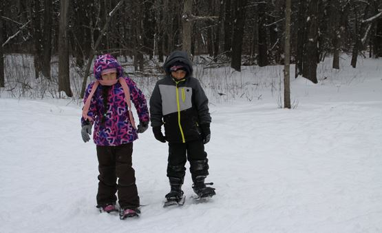 Two kids snowshoeing on trails at Springbrook