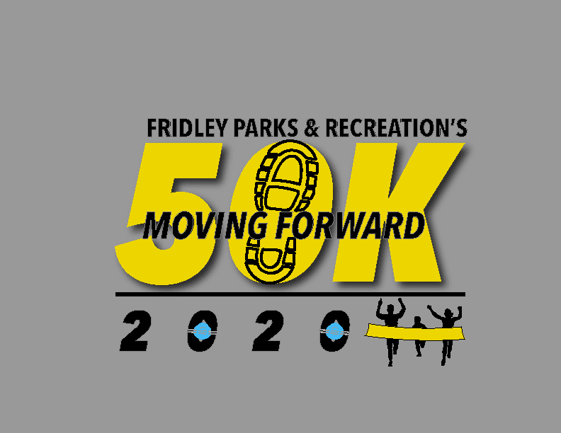 Logo for Fridley 50K, runners shoe and finishing line